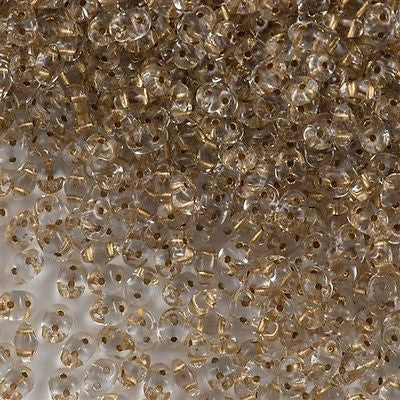 Super Duo 2x5mm Two Hole Beads Crystal Bronze Lined 15g (00030GL)