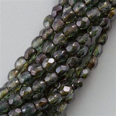 100 Czech Fire Polished 4mm Round Bead Transparent Green Luster FP4-65431