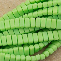 50 CzechMates 3x6mm Two Hole Brick Beads Matte Spring Green BR-53200M