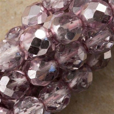 50 Czech Fire Polished 8mm Round Bead Light Lavender (97374)