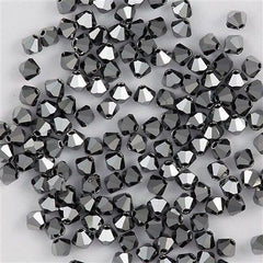 72 Preciosa Czech Crystal 6mm MC Bicone Bead Jet Hematite Full HA6-23980HEMFL