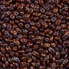 Super Duo 2x5mm Two Hole Beads Opaque Red Bronze Luster 15g (93200B)