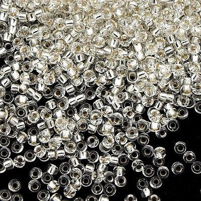 Miyuki Round Seed Bead 15/0 Crystal Silver Lined 2-inch Tube (1)