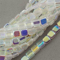 50 CzechMates 6mm Two Hole Tile Beads Crystal AB T6-00030X