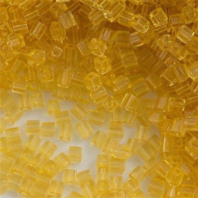 Miyuki 3mm Cube Seed Bead Transparent Light Amber 15g SB3-132