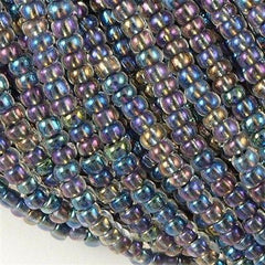 Czech Seed Bead Black Lined AB 1/2 Hank 8/0 (58549)