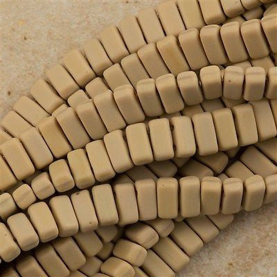 50 CzechMates 3x6mm Two Hole Brick Beads Matte French Beige BR-13070M