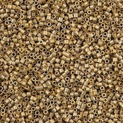 25g Miyuki Delica Seed Bead 11/0 Matte 24kt Light Gold Plated DB334