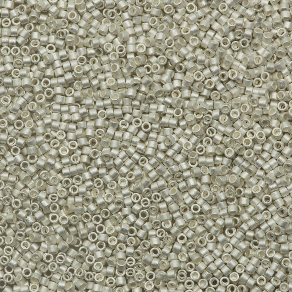 25g Miyuki Delica Seed Bead 11/0 Matte Silver Plated DB551F
