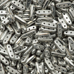 CzechMates Three Hole Beam Beads Silver 7.7g Tube (27000)