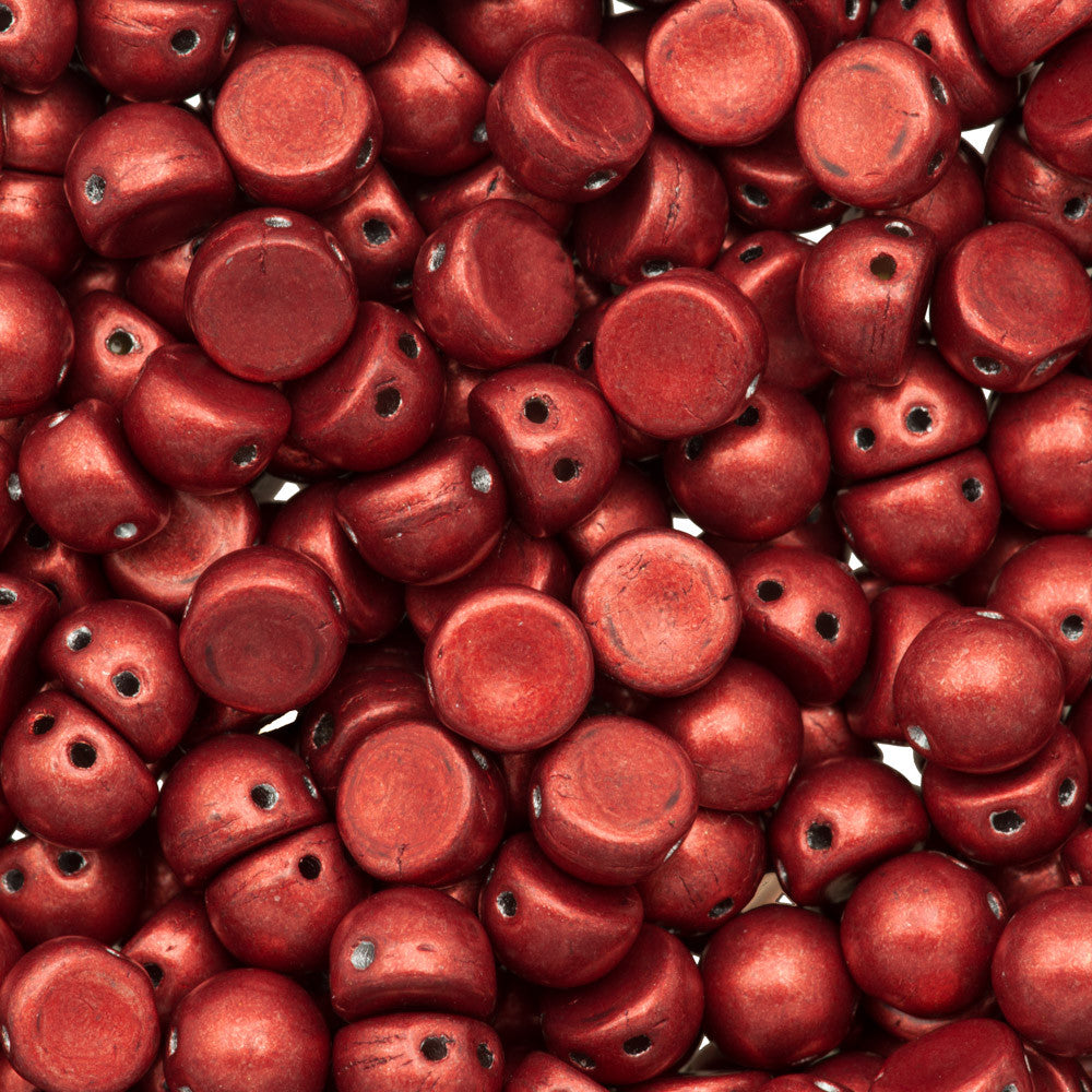 CzechMates 7mm Cabochon Two Hole Beads Saturated Metallic Aurora Red 6.7g Tube (77047)