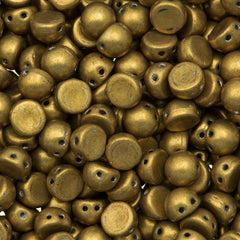 CzechMates 7mm Cabochon Two Hole Beads Saturated Metallic Spicy Mustard 15g (77052)