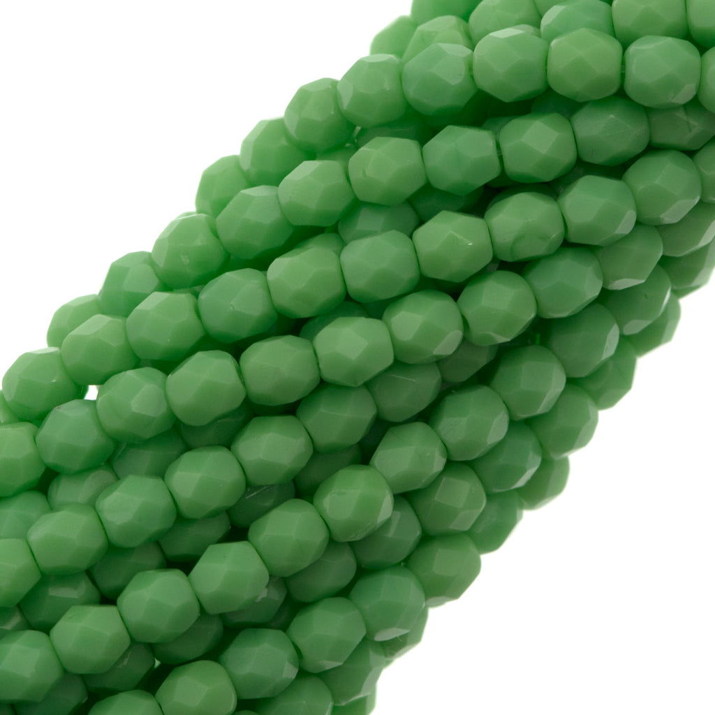 100 Czech Fire Polished 4mm Round Bead Opaque Spring Green (53200)