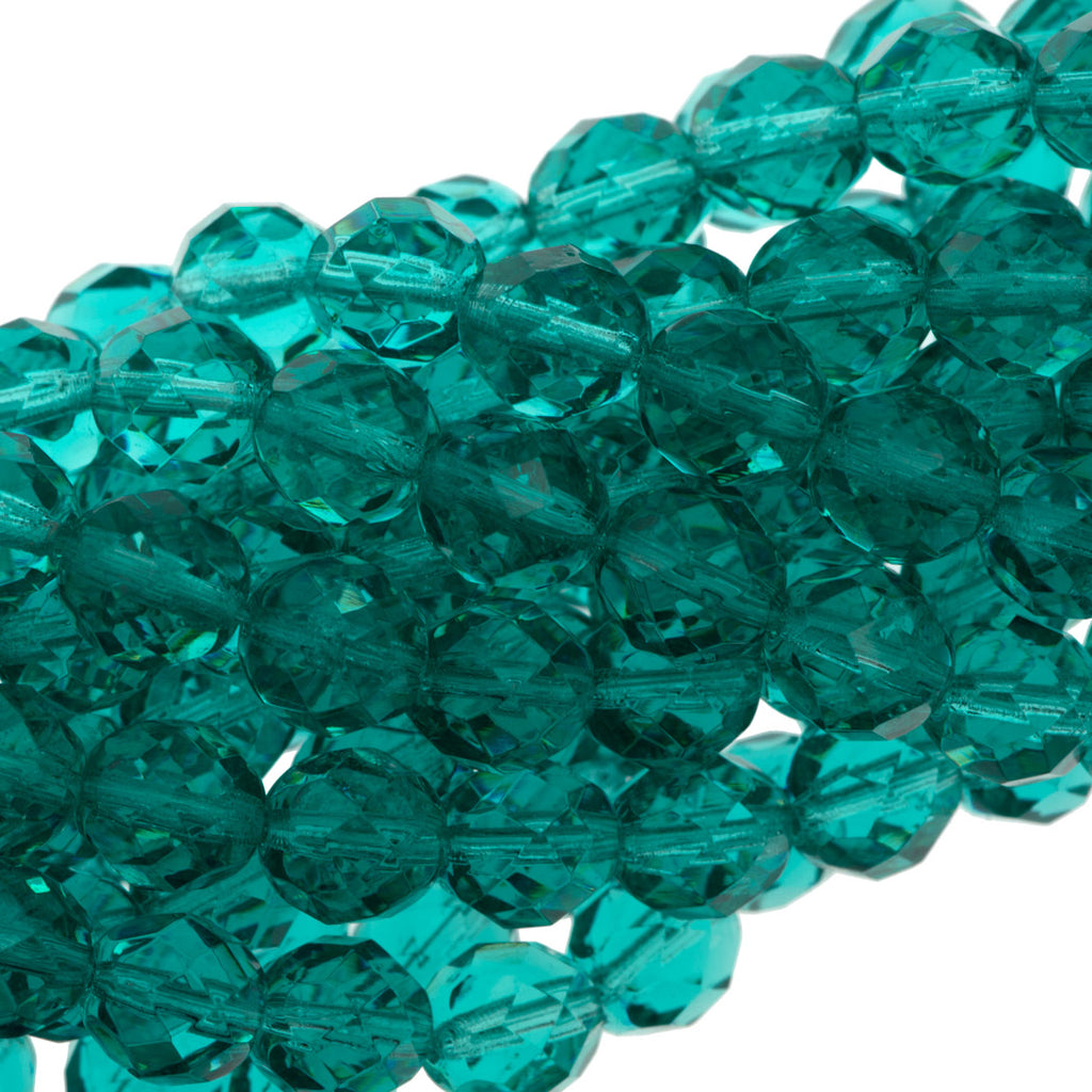 50 Czech Fire Polished 8mm Round Bead Light Teal (60210)