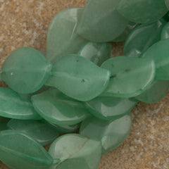 Green Aventurine 16x12mm Leaf Beads 16-inch Strand