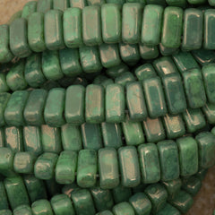 50 CzechMates 3x6mm Two Hole Brick Beads Spring Green Moon Dust (53200MD)