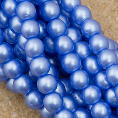 100 Czech 4mm Round Baby Blue Glass Pearl Beads
