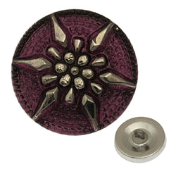 Czech 18mm Amethyst Star Glass Button