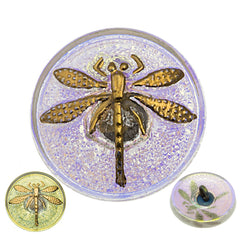 Czech 18mm Transparent Dragonfly AB Luster Glass Button