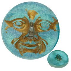 Czech 18mm Moon Face Aqua Gold Glass Button
