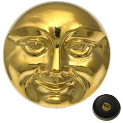 Czech 18mm Moon Face Gold Glass Button