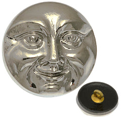 Czech 18mm Moon Face Silver Glass Button
