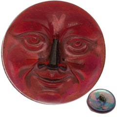 Czech 18mm Moon Face Fuchsia Glass Button