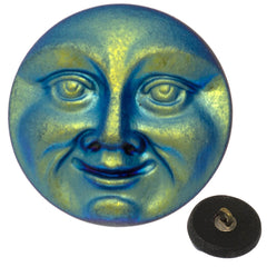 Czech 18mm Moon Face Matte Blue AB Glass Button