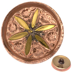 Czech 18mm Copper Peach Star Flower Glass Button