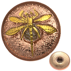 Czech 18mm Dragonfly Pink Glass Button