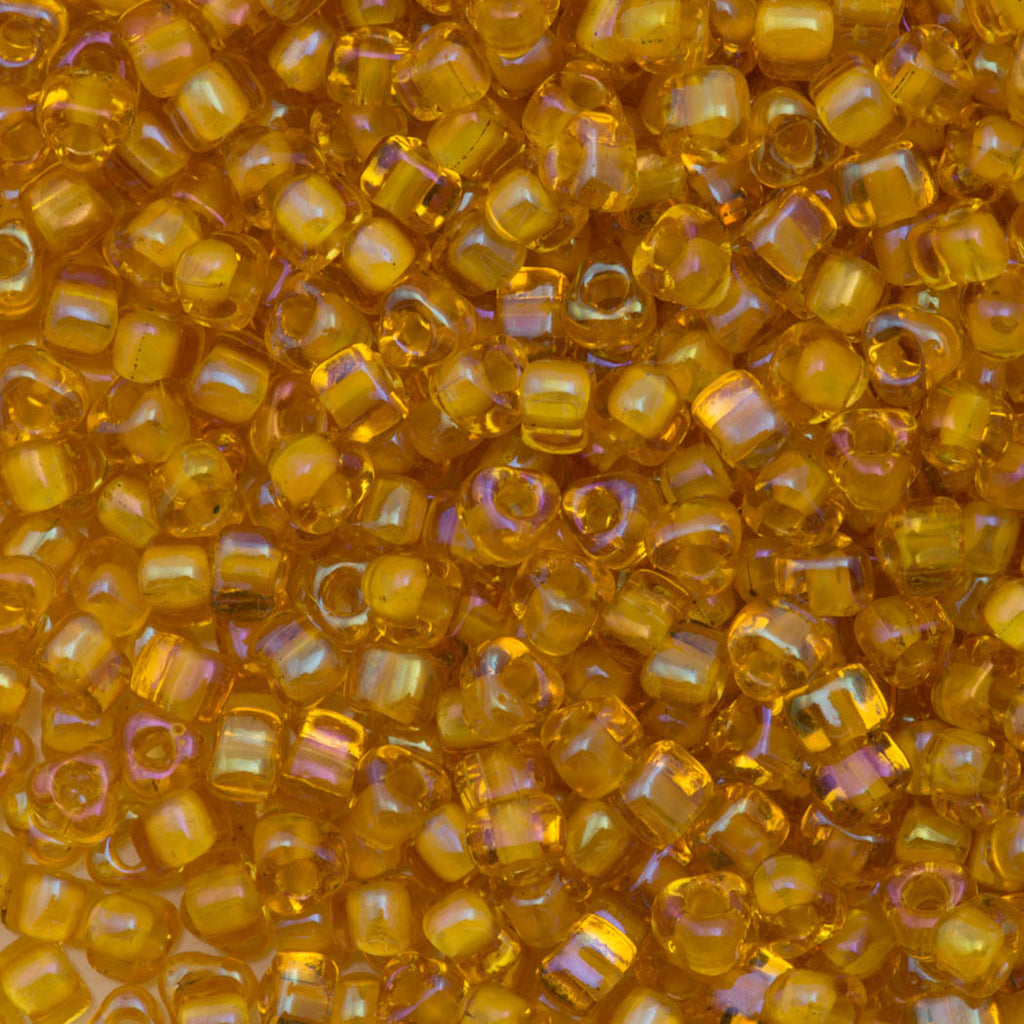 Miyuki Triangle Seed Bead 5/0 Inside Color Lined Topaz Luster 21g Tube (1161)