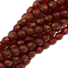 100 Czech Fire Polished 4mm Round Bead Cardinal (29256)