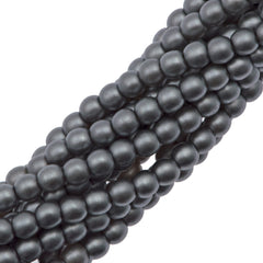 100 Czech 3mm Round Silver Glass Pearl Beads