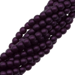 100 Czech 3mm Round Purple Velvet Glass Pearl Beads