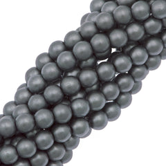 100 Czech 4mm Round Silver Glass Pearl Beads