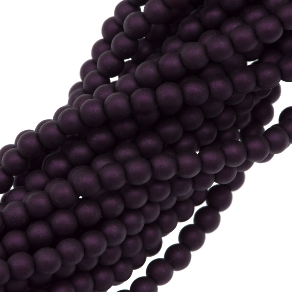 100 Czech 4mm Round Matte Purple Velvet Glass Pearl Beads