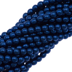 100 Czech 4mm Round Royal Blue Glass Pearl Coat Beads