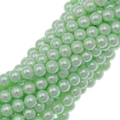 100 Czech 4mm Round Mint Glass Pearl Coat Beads