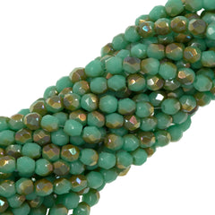 100 Czech Fire Polished 3mm Round Bead Green Turquoise Celsian (53130Z)