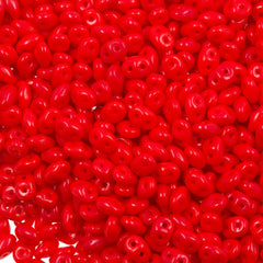 Super Duo 2x5mm Two Hole Beads Opaque Red 15g (93200)