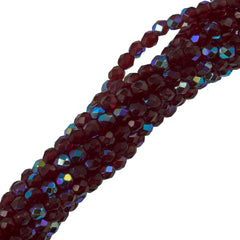 100 Czech Fire Polished 3mm Round Bead Ruby AB (90100X)
