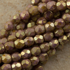 100 Czech Fire Polished 3mm Round Bead Opaque Smoky Topaz Gold Luster (15695P)