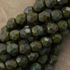 50 Czech Fire Polished 6mm Round Bead Opaque Olive Picasso (53420T)