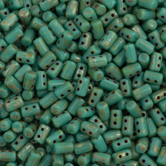 Czech Rulla 3x5mm Two Hole Beads Opaque Turquoise Picasso 15g (63130T)