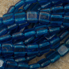 50 CzechMates 6mm Two Hole Tile Beads Capri Blue Gold Dusted (60080GM)