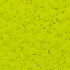 CzechMates 2x6mm Two Hole Bar Neon Yellow Beads 15g (25121)
