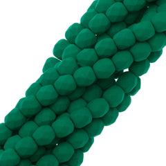 100 Czech Fire Polished 4mm Round Bead Neon Emerald (25128)