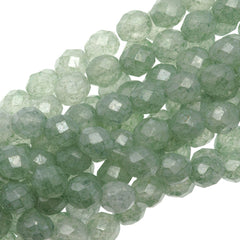 50 Czech Fire Polished 8mm Round Bead Stone Green Luster (64454)