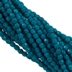 100 Czech Fire Polished 3mm Round Bead Snake Turquoise (39070)