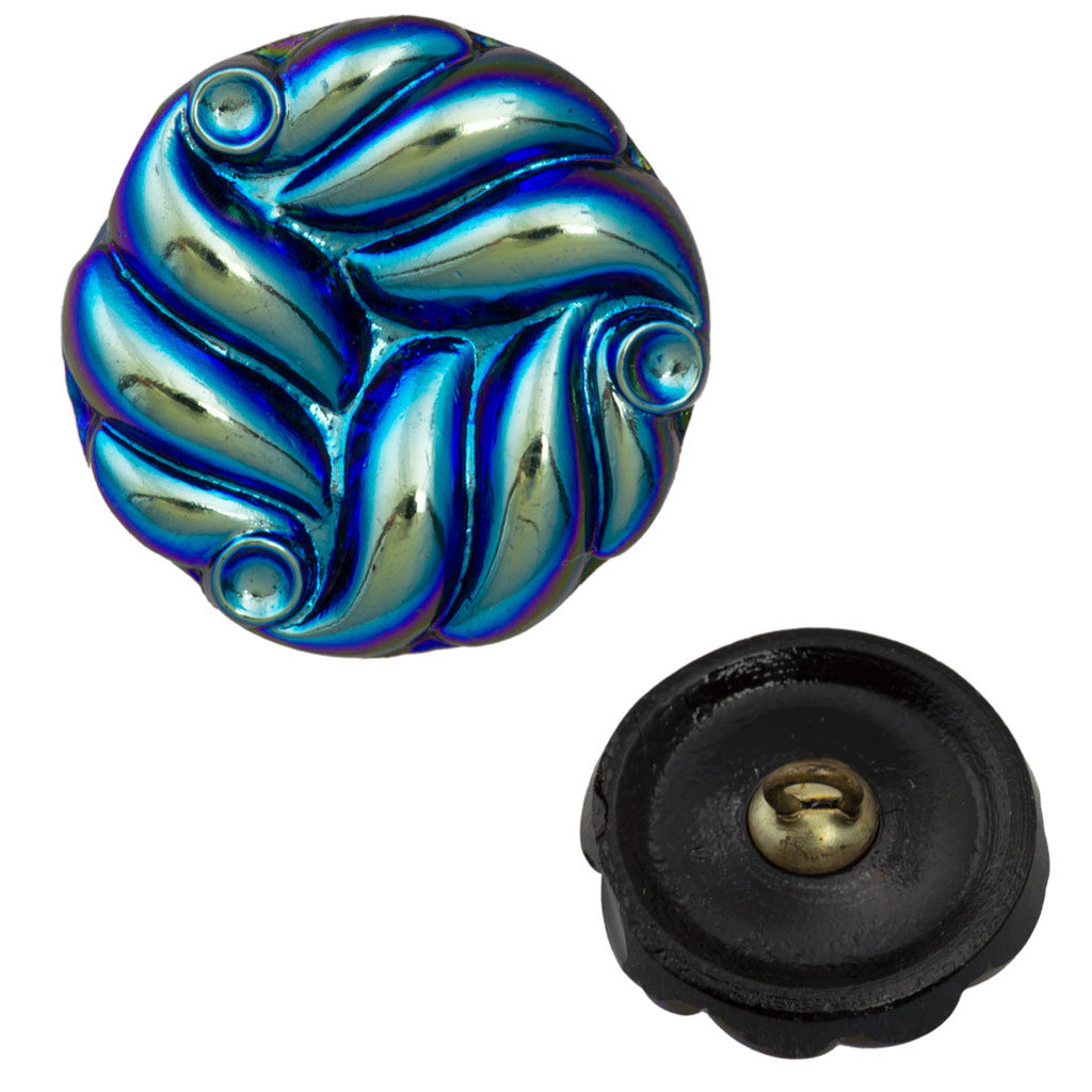 18mm Glass Button Jet AB Wave Design